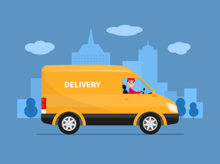 Vector illustration of cartoon delivery van with deliveryman. Yellow truck delivery against the background of the city. Courier delivery sitting in the car. Cargo auto. Flat style.