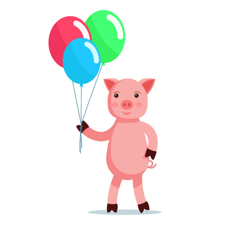 Vector illustration of a cute pink cartoon piglet coming with balls. Isolated white background. A little piglet with colorful balloons. Flat style. Çizim