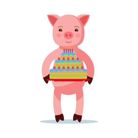Vector illustration of a cute pink cartoon piglet standing with a cake. Isolated white background. A little pig with a pie with candles. Flat style.