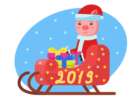 Vector illustration of a pig in Santa Claus costume sits in a sleigh with gifts. Piglet is sitting in a red sled. Pig carries New Year gifts. Happy New Year 2019. Flat style.