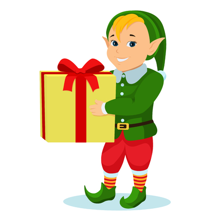 Vector illustration of a cartoon christmas elf with a gift. Isolated white background. Boy elf in a green suit with a yellow gift box. Flat style.