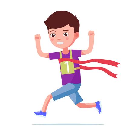 Illustration vectorielle d'un garçon de bande dessinée en cours d'exécution et remportant un marathon. Fond blanc isolé. Gagnant de Kid Runner. L'enfant termine la première course. Style plat.