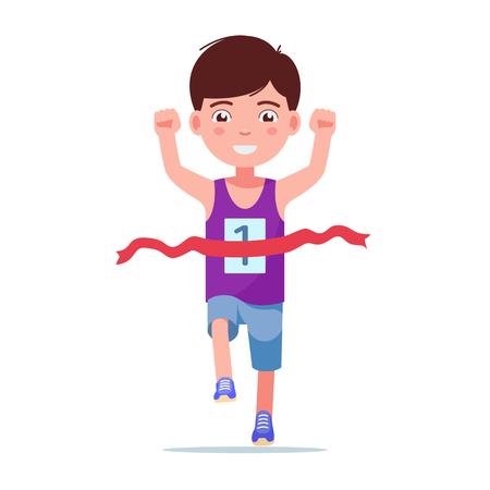 Ilustración de vector de un niño de dibujos animados corriendo y ganando un maratón. Fondo blanco aislado. Ganador del corredor de niños. El niño termina la primera carrera. Estilo plano.