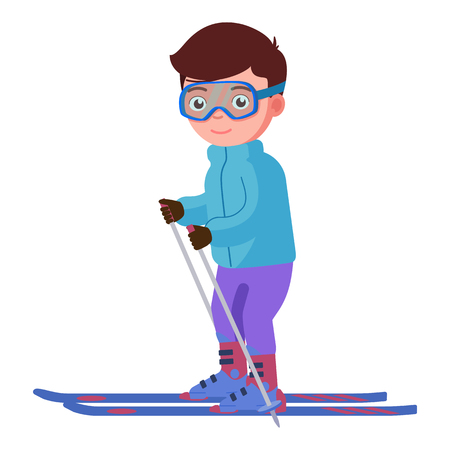 Vector illustration of a smiling boy skiing. Isolated white background. Skier in glasses stands on skis with ski poles. Flat style.