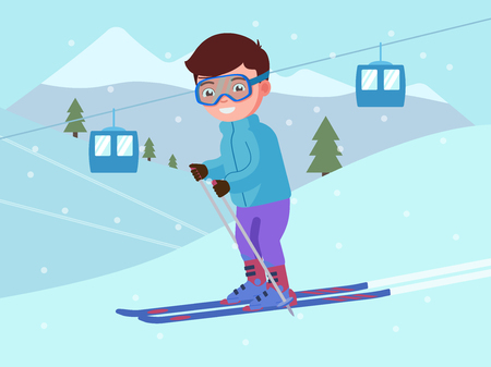 Young boy is skiing at a ski resort. Child is skiing down a snowy mountain. Alpine skier doing winter sport. Vector illustration of a flat style. Çizim