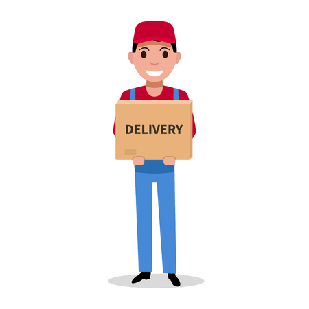 Delivery man is holding a parcel box. Package delivery service. Courier brought the parcel. Vector illustration isolated on white flat style.