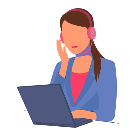 Vector illustration beautiful secretary girl sitting with laptop headphones and a microphone. Isolated white background. Woman works as a hotline operator. Freelancer. Flat style. Çizim