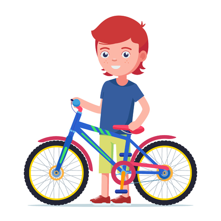 Vector illustration cute boy standing next to a colorful children bicycle. Isolated white background. Child is holding a bike. Flat style.
