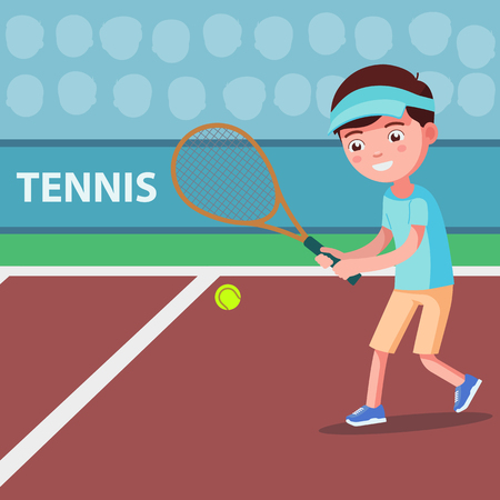 Vector illustration of a cartoon boy playing tennis on the court. A child beats a tennis ball with a racket. Kid beats the ball with a racquet. Flat style.