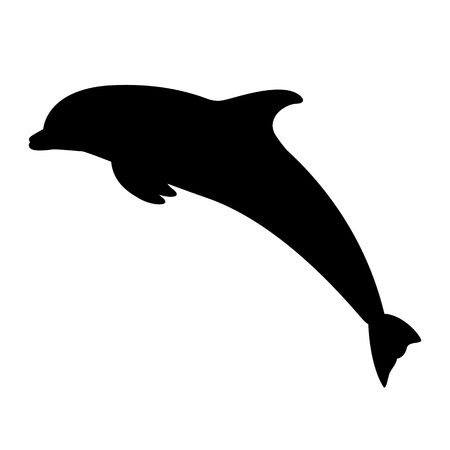 Black silhouette of a jumping dolphin 向量圖像