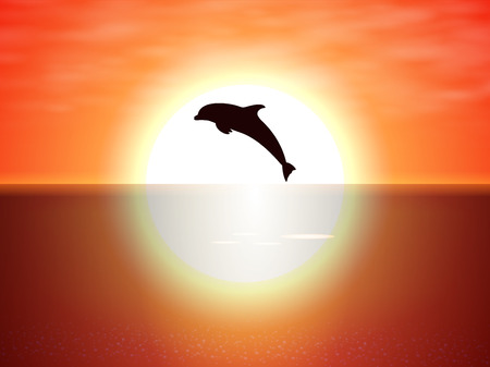 Vector illustration of a black silhouette of a dolphin jumping over the water on the background of the sunset sun. An evening view of a jumping bottlenose dolphin in the ocean.