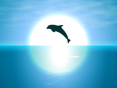 Evening night view jumping dolphin on the background of the moon. Bottlenose dolphin jumps out of the sea. Vector illustration.