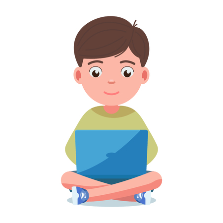 Boy sits and plays on the laptop. Child with his legs crossed is holding a computer on his lap. Vector illustration, flat style front view.