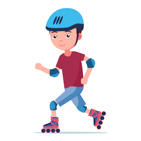 The boy rides on roller skates. The child in the helmet and the protection quickly edith on rollers. Vector illustration isolated on white, flat style.