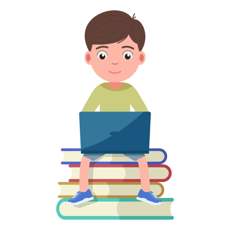 Boy sits on the books and works engaged in a laptop. A child learns by computer. Vector illustration isolated on white, flat style.