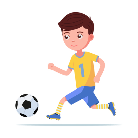 Boy football player in sportswear runs for ball Stok Fotoğraf - 117956611