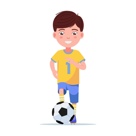 Boy football player in sportswear runs with the ball. Young child playing with a soccer ball. Vector illustration isolated on white, front view flat style. Çizim