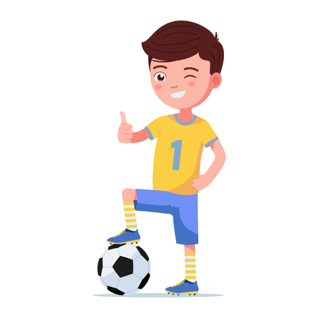 Boy soccer player in sportswear standing with his foot on a ball. Young child football player holds thumb up. Vector illustration isolated on white, flat style.