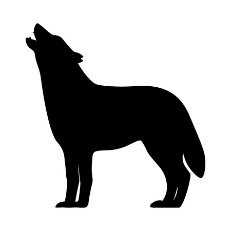 Vector black silhouette of a howling wolf