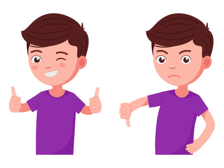 Boy holds his thumb up and down. Child shows his emotions with a finger. Vector illustration isolated on white, flat style. Çizim