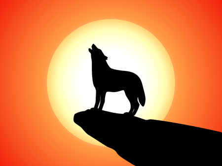A howling wolf stands on a rock at sunset. Vector illustration of a wild beast howling in the sun on a cliff.