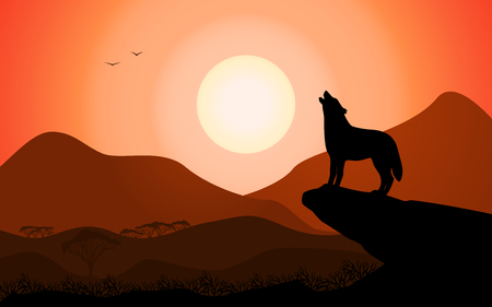 Evening landscape howling wolf at sunset stands on a rock. Vector illustration of a black silhouette of a coyote on the background of nature.