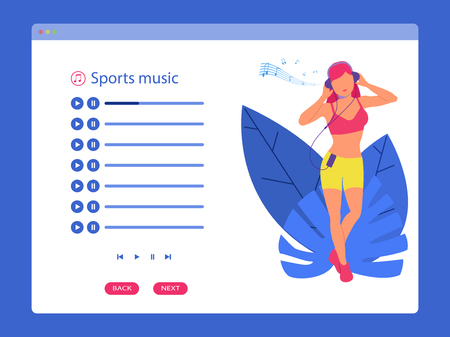Web application for listening to music and radio. Internet playlist girl listens to music in headphones and dances. Vector illustration of a flat style.