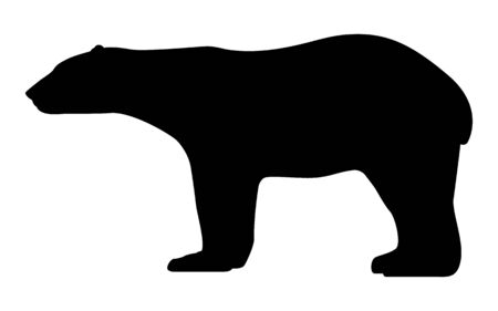 Vector illustration black silhouette polar bear