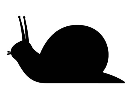 Vector illustration black silhouette of a snail