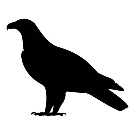 Vector black silhouette of a standing eagle