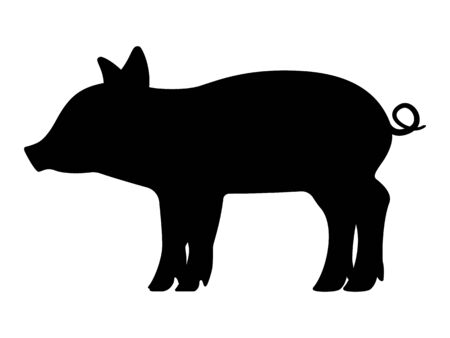 Vector black silhouette of a little piggy Çizim