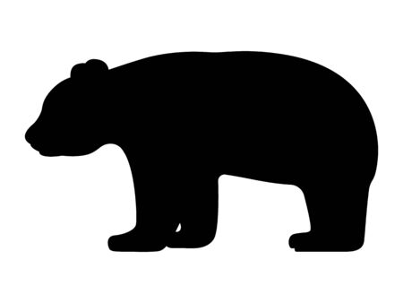 Vector illustration of black silhouette of panda
