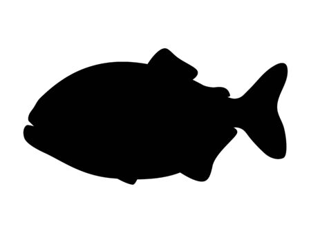 Vector illustration of black silhouette of piranha