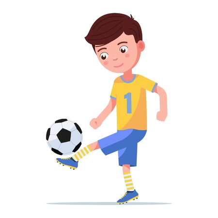 Boy soccer player kicking the ball on his leg Çizim