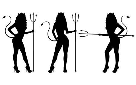 Wektor zestaw czarnej sylwetki dziewczyny diabła