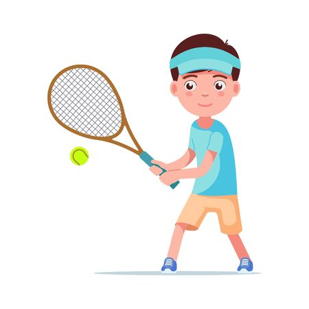 Boy tennis player beat the ball with a racket. Small child plays tennis. Vector illustration isolated on white, flat style.
