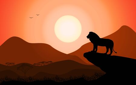 Vector illustration of a landscape silhouette of a king lion standing on a rock against a sunset background. Wild lion in freedom looks at the African valley. Çizim