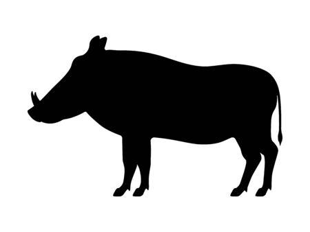 Vector black silhouette warthog