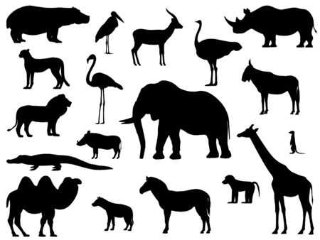 Set silhouette standing african animals Vectores