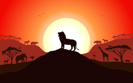 Brüllende Silhouette eines Löwen, der auf einem Hügel steht