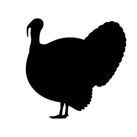 Vector black silhouette of a turkey Çizim