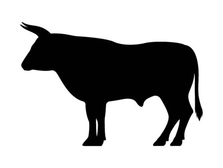 Vector black silhouette of a bull Çizim
