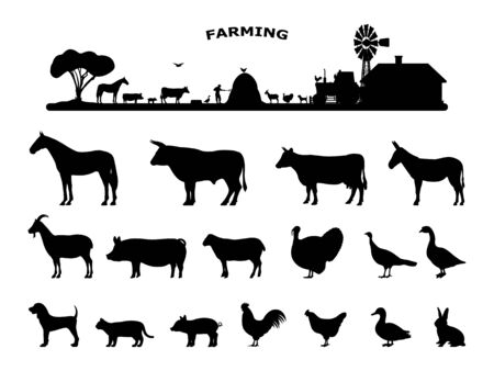 Set silhouettes domestic farm animals