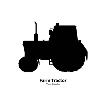 Black silhouette agricultural farm tractor Çizim