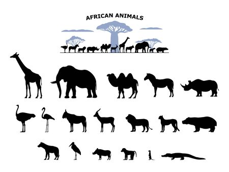Set of black silhouette wild african animals