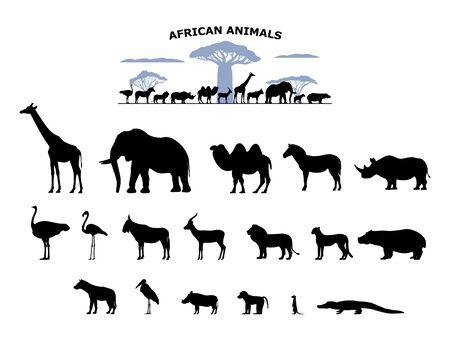 Set of black silhouette wild african animals