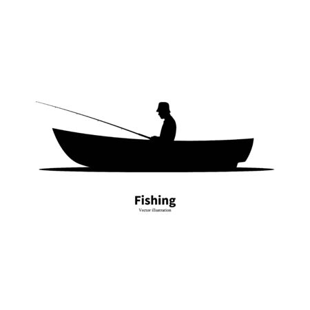 Black silhouette of a fisherman sitting in a boat