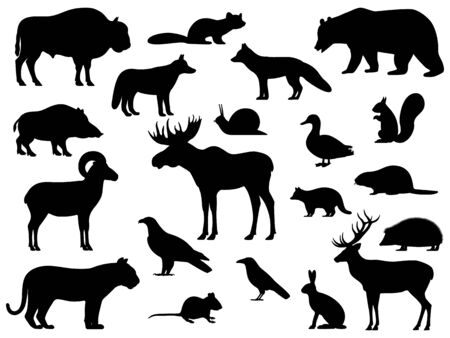 Set of black silhouette wild forest steppe animals