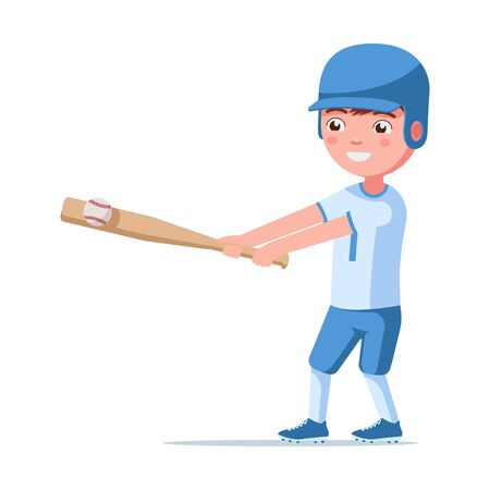 Boy baseball player is in a sports uniform in a helmet with a bat and ball. Small child hits a bat ball. Vector illustration isolated on white, flat style. Çizim