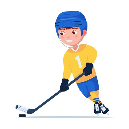 Hockey player plays with a stick and puck. Boy in sports uniform is engaged in professional hockey. Vector illustration isolated on white, flat style. Çizim